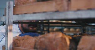 Frischer gebackener Hauptbäcker des Brotes im Regal mit dem Schnurrbart, der das Brot mit Vergnügen nimmt er riecht, etwas Brot v stock video footage