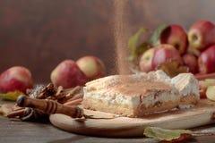 Frischer gebackener köstlicher klassischer Apfelkuchen lizenzfreies stockbild