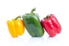 Frischer Gemüsepaprika, grüner Pfeffer oder spanischer Pfeffer auf weißem Hintergrund stockbilder