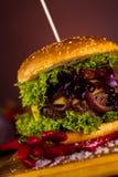 Frischer, geschmackvoller Burger, natürliches traditionelles Lebensmittel Lizenzfreies Stockbild