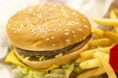 Frischer geschmackvoller Burger und Pommes-Fritesnahaufnahme stockbild