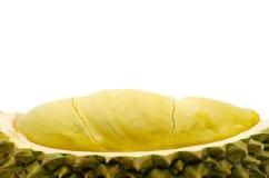 Frischer geschnittener Durian lokalisiert auf weißem Hintergrund stockbild