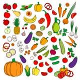 Frischer gesunder Bauernhof trägt, flache Ikonen des Gemüses Früchte Stockfotografie