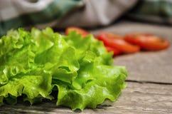 Frischer grüner Salat und Tomaten auf Tabelle Lizenzfreie Stockfotografie