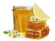 Frischer Honig, Kamille und Zitrone. Stockbild