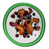 Frischer Landwirt ` s Käse, Quark, Tvorog, Quark oder Ricotta mit frischen Beeren in der grünen Schüssel stockbild