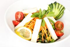 Frischer Mittelmeersalat auf lokalisiertem Hintergrund lizenzfreie stockbilder