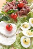 Frischer Mozzarellaaperitif mit Fleisch und Eiern stockfoto