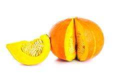 Frischer orange Kürbis lokalisiert auf weißem Hintergrund Stockfotos