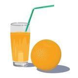 Frischer Orangensaft im Glas mit den Früchten lokalisiert auf weißem backgr lizenzfreie abbildung