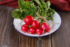 Frischer organischer Rettich auf hölzernem Hintergrund Stockbild