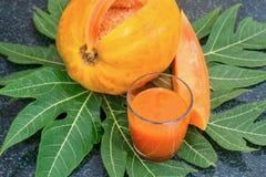 Frischer Papayasaft im Glas mit Papayafrüchten, -blatt und -scheiben Lizenzfreie Stockfotos
