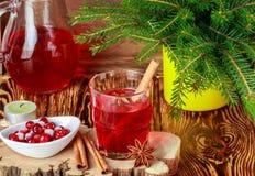 Frischer Preiselbeersaft Das Kompott Heißes Weihnachtsgetränk von den Beeren mit Zimt- und Sternanis Stockfotos
