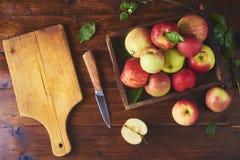 Frischer reifer Apfel in der Schüssel, Schneidebrett mit Messer und Hälfte von stockfoto