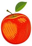 Frischer reifer magischer dekorativer roter Apfel stock abbildung