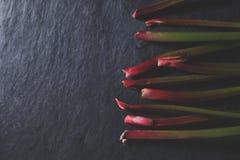 Frischer Rhabarber auf dunklem Stein mit schönem Licht Lizenzfreies Stockfoto