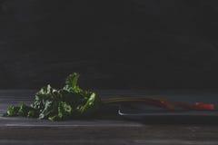 Frischer Rhabarber auf grauer Platte und altem Holztisch Lizenzfreies Stockfoto