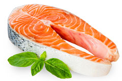 Frischer roher Salmon Red Fish Steak lokalisiert auf einem weißen Hintergrund Stockfotografie