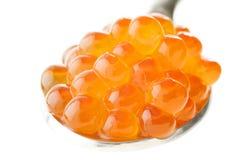 Frischer roter Kaviar im Löffel Stockfotografie