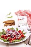Frischer Salat auf einer Platte mit roter Serviette Lizenzfreie Stockfotografie