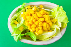 Frischer Salat auf grünem Hintergrund Stockfotografie