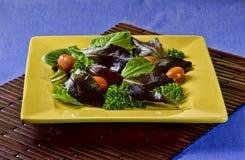 Frischer Salat in einer ockerhaltigen Platte Stockbilder