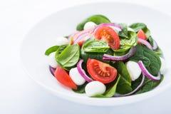 Frischer Salat mit Abschluss des Käses, der Tomate, des Spinats und der purpurroten Zwiebel des Mozzarellas oben Stockfoto