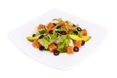 Frischer Salat mit Lachsen Stockfoto