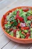 Frischer Salat mit Pfeffer und Tomate Lizenzfreies Stockfoto
