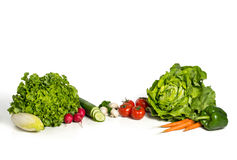 Frischer Salat und Gemüse in einer Gruppe Lizenzfreie Stockfotos
