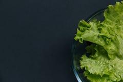 Frischer Salat verl?sst in der Sch?ssel auf dunklem Hintergrund Beschneidungspfad eingeschlossen stockbilder
