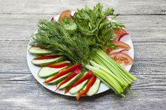 Frischer Salat vom Bauernhofgemüse Gehackte Zwiebel, Tomate, Gurke, Petersilie, Koriander, Dill Bioprodukte ohne GMO Lizenzfreies Stockfoto