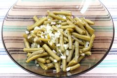 Frischer Salat von grünen Bohnen Stockfotos