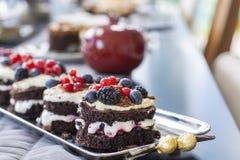Frischer Schokoladenkuchen mit Mischungsbeeren stockbild