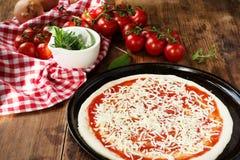 Frischer selbst gemachter Pizza-Teig Stockbilder