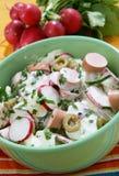 Frischer Sommersalat mit Frankfurter Würstchen Stockbilder
