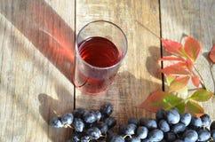 Frischer Traubensaft durch einige Weinreben Bürste von frischem organischem des Traubensafts der blauen Traube auf Holzoberfläche Stockfotografie