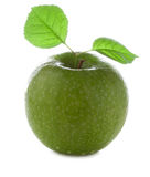 Frischer und nasser grüner Apfel Lizenzfreie Stockfotografie