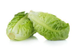 Frisches Baby Lattich (Kopfsalat) auf weißem Hintergrund Stockbilder
