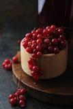 Frisches berrie Getränk und Schüssel mit roter Johannisbeere stockbild