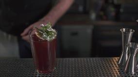 Frisches Cocktail verziert mit Minze und orange Stellung auf Barzählerabschluß oben Cocktail gemacht in der modernen Bar alcohol stock video