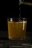 Frisches dunkles Foto des Ingwerbieres mit spritzt Nahaufnahme Stockbilder
