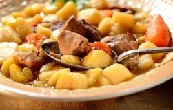 Frisches Eintopfgericht des Rindfleisches, Kartoffeln, auf der keramischen Platte, löffeln Weinlese Stockfotografie