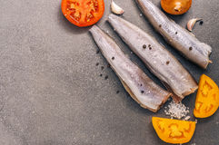 Frisches Fischfilet mit Gewürzen und Tomaten auf einem grauen Hintergrund, Draufsicht Lizenzfreies Stockbild
