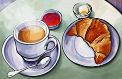 Frisches französisches Frühstück mit Kaffeeespresso und Hörnchen im wat Stockbilder