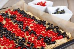 Frisches gemacht Beeren der roten und Schwarzen Johannisbeere backen zusammen Lizenzfreie Stockfotografie