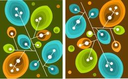 Frisches Grünes und Orange treibt nahtloses Muster Blätter Lizenzfreies Stockfoto