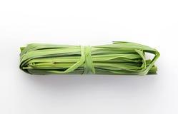 Frisches grünes Zitronen-Gras auf weißem Hintergrund schoss im Studio Stockbild