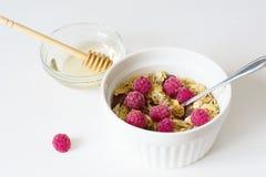 Frisches Granola des gesunden Fr?hst?cks auf einem wei?en Hintergrund stockfotos