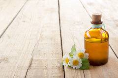 Frisches Kraut und Flasche auf Holztisch Abbildung auf weißem Hintergrund Stockfotos